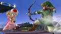 Link apuntando a Peach en el Campo de Batalla - (SSB. for Wii U).jpg