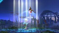 Palutena realizando Luz celestial en Super Smash Bros. para Wii U.