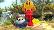 Pac-Man, Pikachu y Meta Knight en el Vergel de la esperanza SSB4 (Wii U).png