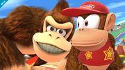 Diddy Kong y Donkey Kong en Ciudad Smash SSB4 (Wii U).jpg