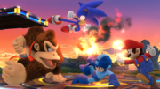 Mega Man, Mario, Donkey Kong y Sonic en el Campo de Batalla SSB4 (Wii U).png