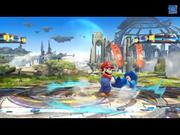 Mario usando su lanzamiento trasero contra Mega Man SSB4 (Wii U).png