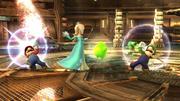 Mario y Luigi haciendo sus ataques Smash hacia arriba contra Estela SSB4 (Wii U).png