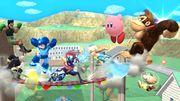 Daraen, Little Mac, Greninja, Rosalina, Donkey Kong, Kirby, Olimar y Megaman en Onett SSB4 (Wii U).jpg