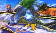 Lucario, Charizard, Mario y Pikachu en el Campo de Batalla SSB4 (3DS).jpg