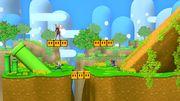 Captain Falcon, Sheik y Shulk en Isla de Yoshi (SSBM) SSB4 (Wii U).jpg