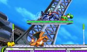 Charizard, Pikachu, Greninja y Yoshi en la Torre Prisma SSB4 (3DS).jpg
