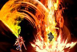 Vista previa de Acero en llamas en la sección de Técnicas de Super Smash Bros. Ultimate