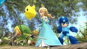 Estela, Toon Link y Mega Man en el Vergel de la Esperanza SSB4 (Wii U).jpg