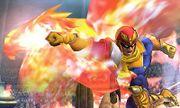 Captain Falcon usando Gancho de Fuego en el Coliseo de Regna Ferox SSB4 (3DS).jpg