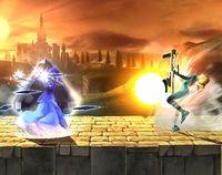 Zelda usando Amor de Nayru en Super Smash Bros. Brawl