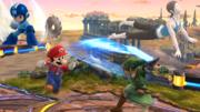 Mario, Link, Mega Man y la Entrenadora de Wii Fit en el Campo de Batalla SSB4 (Wii U).png