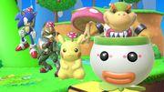 Bowsy agarrando una Seta andante maligna, junto a Pikachu, Fox y Sonic en SSBU.jpg