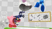 Kirby absorviendo a Greninja en el escenario Miiverse SSB4 (Wii U).jpg