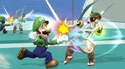Luigi y Pit en la zona de entrenamiento SSB4 (Wii U).jpg