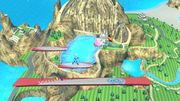 Olimar, Kirby, Aldeano y Samus Zero en las Islas Wuhu SSB4 (Wii U).jpg