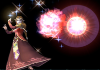 Zelda usando Fuego de Din en Super Smash Bros. Brawl