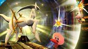 Arceus atacando a Kirby y a Olimar SSB4 (Wii U).jpg