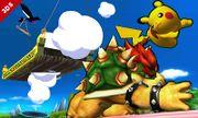 Bowser atacando a Pikachu en el Tren de los Dioses SSB4 (3DS).jpg