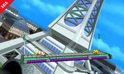 Pikachu y Olimar elevandose hacia la parte alta de la Torre Prisma - (SSB. for 3DS).jpg