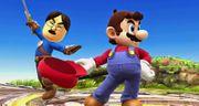 Espadachin Mii de Iwata y Mario en el Campo de batalla SSB4 (Wii U).jpg