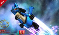Lucario usando Velocidad extrema en Super Smash Bros. for Nintendo 3DS.