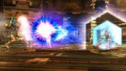 Fox utilizando el reflector para devolver un disparo a Samus SSB4 (Wii U).jpg