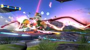 Toon Link golpeando a Fox con daño alto SSB4 (Wii U).jpg