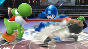 Yoshi atacando a Little MacyMega Man SSB4 (Wii U).png