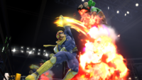 Captain Falcon usando Salto predador en Super Smash Bros. for Wii U