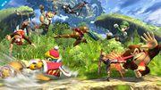 Fox, Diddy Kong, Donkey Kong, Lucina, Shulk, Luigi, Samus y Rey Dedede en la Llanura de Graur para Wii U.jpg