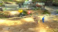Olimar lanzando un Pikmin en Super Smash Bros. para Wii U