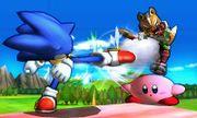 Sonic usando su ataque normal contra Kirby y Fox en el Tren de los Dioses SSB4 (3DS).jpg