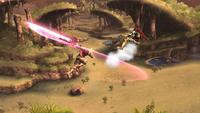 Shulk usando el segundo golpe del Ataque aéreo en Super Smash Bros. para Wii U