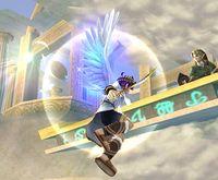 Pit acercándose a un borde usando las Alas de Ícaro en Super Smash Bros. Brawl