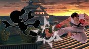 Mr. Game & Watch y Ryu en Suzaku Castle SSBU.jpg