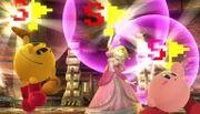 Pac-Man, Peach y Kirby sosteniendo la Bandera especial SSB4 (Wii U).jpg