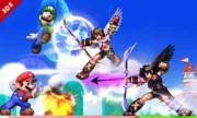 Mario, Luigi, Pit y Pit Sombrío en 3D Land SSB4 (3DS).png