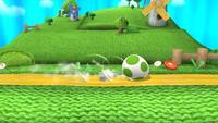 Yoshi usando huevo rodante en Super Smash Bros. para Wii U