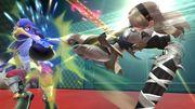 Corrin usando la patada delantera durante Embestida Dragon SSB4 (Wii U).jpg
