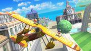 Aldeano y Mario en el escenario de Pilotwings (SSB. for Wii U).jpg