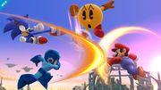 Sonic, Mega Man, Pac-Man y Mario en el Campo de Batalla SSB4 (Wii U).jpg