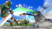 Lucina usando la Danza del sable contra Link SSB4 (Wii U).png
