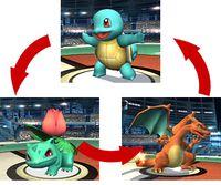 Secuencia que muestra el orden de cambio de Pokémon en Super Smash Bros. Brawl