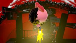 Kirby disparando en el aire.