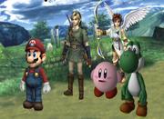 Mario, Link, Kirby, Pit y Yoshi en el ESE Beta.png