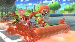 Link, Samus, Mario y una inkling chica en Circuito Mario (Brawl) SSBU.jpg