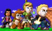 Cuatro atuendos de Luchadores Mii en Zona Green Hill omega SSB4 (3DS).jpg