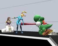 Yoshi usando Puesta en Super Smash Bros. Brawl