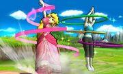 Peach y la Entrenadora de Wii Fit en el Tren de los Dioses SSB4 (3DS).jpg